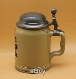 Antique 1891 0.5L STUDENT SOCIETY german BEER STEIN V&B METTLACH No. 285 old