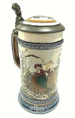 Antique 1892 METTLACH German Beer Stein No. 2230 Collectible