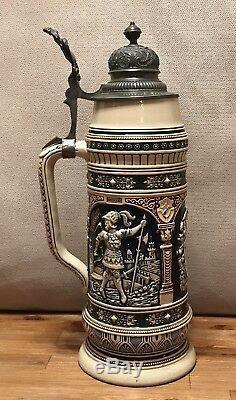 Antique 1895 German Beer Stein Lidded