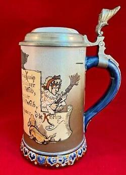 Antique 1896 Mettlach German 3/10l Etched Beer Stein 2090 Pub Tavern Scene