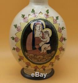 Antique 18th C Faience German Beer Stein Enghalskrug churchly hand painted old