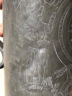 Antique 18th Century Armorial German 34cm Tankard Beer Stein Finely Engraved
