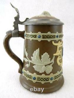 Antique 1904 Mettlach Tapestry German Lidded Beer Stein Mug #1745 1/4 Litre