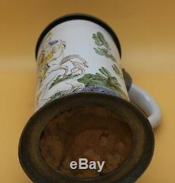 Antique 1L Faience German Beer Stein St. Michael kills Dragon 1 stamp Walzenkrug