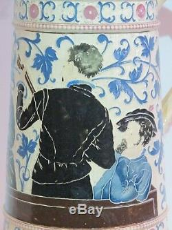 Antique 2L Adolph Diesinger German Beer Stein #1250 Musician and Woman