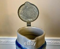 Antique 2L German 14 Westerwald Salt Glazed Pear Jug/Beer Stein Leaf & Pine