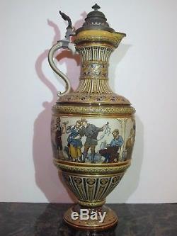 Antique 6.2L Mettlach German Beer Stein #1159 Peasant Dance Mint Cond. 21.5