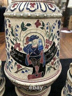 Antique Adolf Diesinger German Beer Masterstein Set With 6 Mugs 2.5 L 1252 Stein