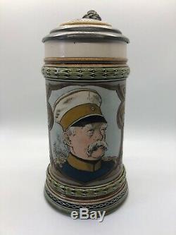 Antique Bismarck Mettlach 1794 Etched German Beer Stein, Signed Warth 1895