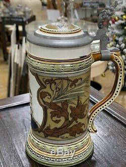 Antique Bismarck Mettlach 1794 Etched German Beer Stein Signed Warth 1896