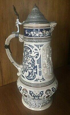 Antique Decorative German Lidded Beer Stein / 251 Germany
