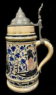 Antique Diesinger German Beer Stein 1260 1L Drinkers In Clover Threaded Relief