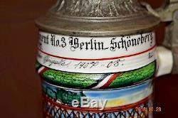 Antique Double Regiment Berlin Eisenbahn Regimental German Military Beer Stein