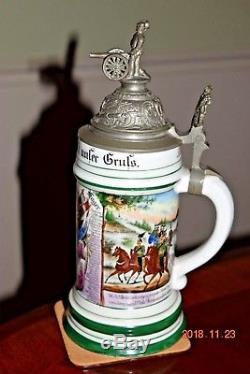 Antique Double Regiment Saxon Artillery Regimental Military German Beer Stein