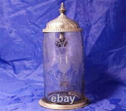 Antique Early German Bohemian Glass Beer Stein Wheel Engraved Wedding c. 1820s