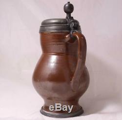 Antique Early German Brown Earthenware Beer Stein Birnkrug Bunzlau c. 1780s