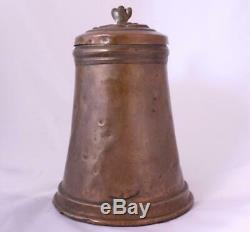 Antique Early German Copper Hand-Hammered Beer Stein Pitcher Bohemia late-1600s