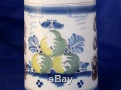 Antique Early German Faience Beer Stein Bayreuth Factory Floral c. Mid-1700s