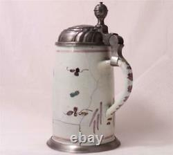 Antique Early German Faience Beer Stein Occupational Farmer Bayreuth c. 1790s