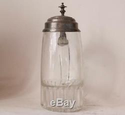 Antique Early German Glass Beer Stein Blown and Molded circa 1830s