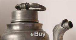 Antique Early German Pewter Beer Stein/Screw-Cap Bottle withSpout early 1800s