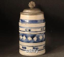 Antique Early German Westerwald Saltglased Stoneware Beer Stein Walzenkrug c1805