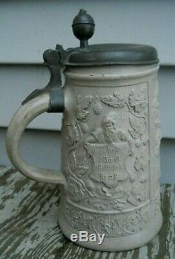 Antique Early German Westerwald Stoneware Beer Stein Mug Walzenkrug 1752