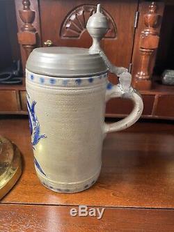Antique Early German Westerwald Stoneware Beer Stein Walzenkrug c. 1780s