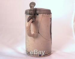 Antique Early German Westerwald Stoneware Beer Stein Walzenkrug withdefect c. 1780s