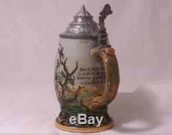 Antique Etched German Beer Stein Merkelbach/Wick #1175A Gnomes c. 1900