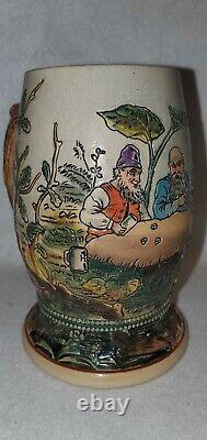 Antique Etched German Beer Stein Merkelbach/Wick #1175 d Gnomes dice ca1900
