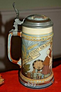 Antique Etched Mettlach German Beer Stein, Cavalier, Signed, Inlay, Dated 1900