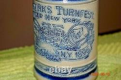 Antique Etched Turnfest Syracuse, NY Dated 1896 German Beer Stein, Gut Heil