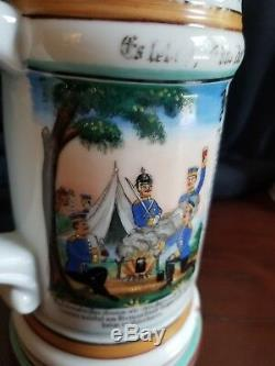 Antique GERMAN MILITARY REGIMENTAL BEER STEIN Lithophane with lid