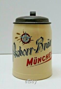 Antique GERMAN POTTERY 1/2 L BEER STEIN Pschorr-Brau MUNCHEN marked Schutz Marke