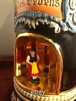 Antique GERMAN Spinning Octoberfest Girl Beer Stein Music Box VIDEO