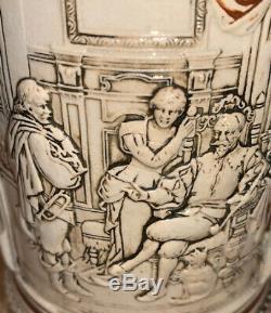 Antique German Beer Stein 1880s Half Liter Pewter Lidded 17 320 Figural Painted