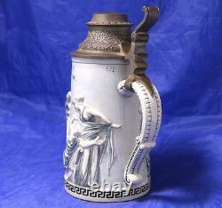 Antique German Beer Stein Ancient Romans Scene by R. Hanke #1272 c. 1900s