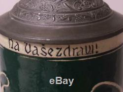 Antique German Beer Stein Art Nouveau by M. Girmscheid #756 withCzech Sayimg c. 1900