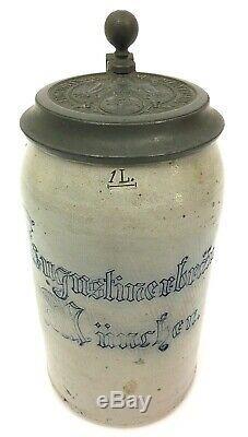Antique German Beer Stein Augustiner-brau Brewery Munich Oktoberfest Nice Gift