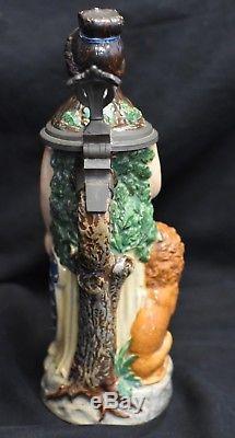 Antique German Beer Stein Bavaria #579 Reihold Merkelbach Lion & Sword 1900c