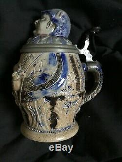 Antique German Beer Stein Monk Or Rich Man c. 1800s
