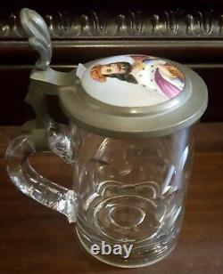 Antique German Beer Stein Pewter With Hand Painted Porcelain Plaque