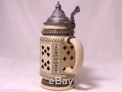 Antique German Beer Stein Playing Cards by Merkelbach and Wick Etched c. 1900
