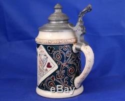 Antique German Beer Stein Playing Cards by R. Hanke #1255A Etched c. 1890s