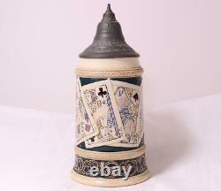 Antique German Beer Stein Playing Cards by R. Hanke #1255 Etched c. 1900