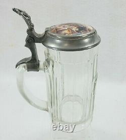 Antique German Beer Stein Porcelain Lid Blacksmith Horseshoeing