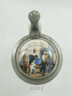 Antique German Beer Stein Porcelain Top Hand Painted Scene Lot A