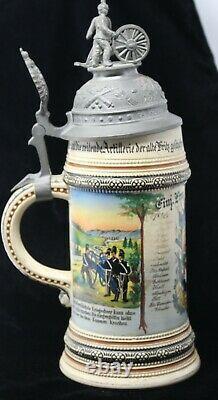 Antique German Beer Stein Regimental Cannon Finial Transfer Print Stoneware
