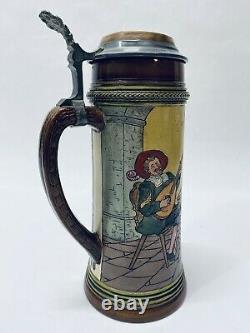 Antique German Beer Stein Reinhold Hanke 1L Tavern Scene Etched Inlaid Lid Gift